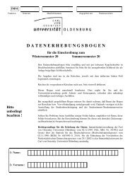 datenerhebungsbogen - Studium - Universität Oldenburg