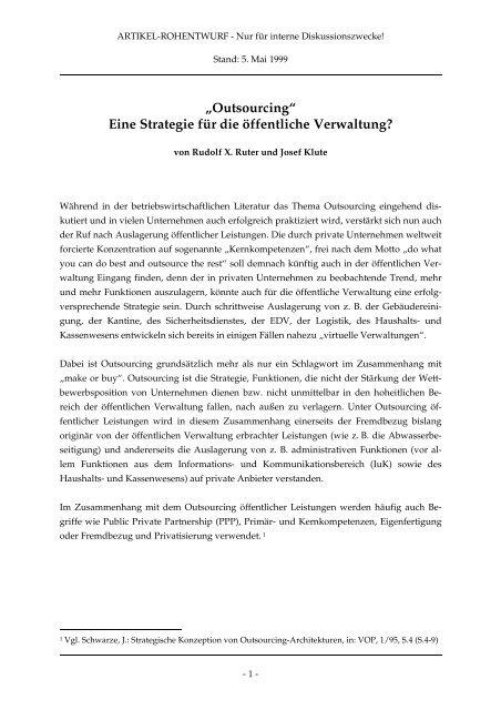 """""""Outsourcing"""" Eine Strategie für die öffentliche ... - Rudolf X. Ruter"""
