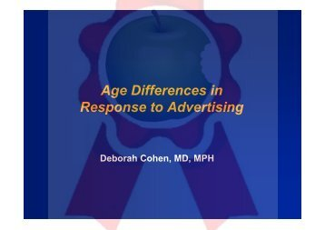Age Differences in Response to Advertising
