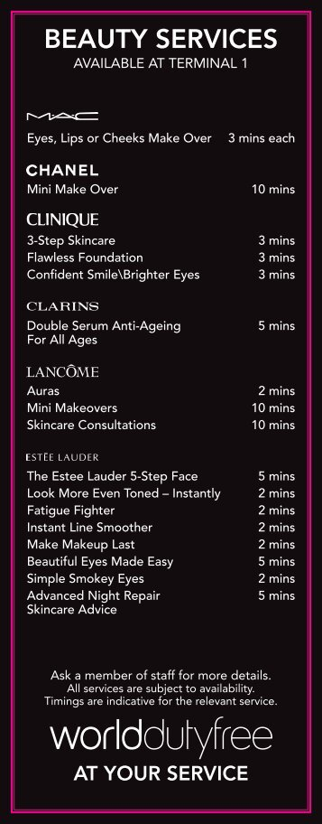 Beauty services in Terminal 1 - Heathrow Airport