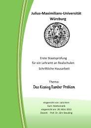Das Kissing Number Problem - Universität Würzburg