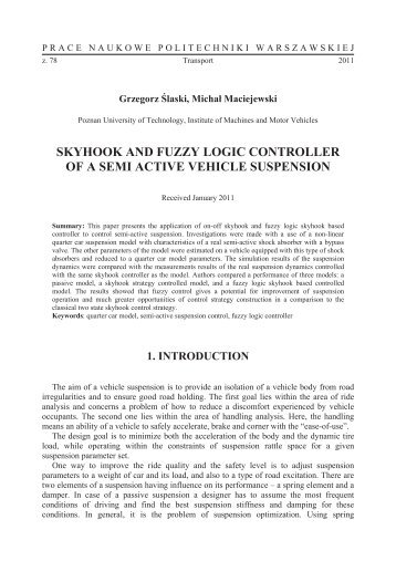 skyhook and fuzzy logic controller of a semi active vehicle suspension