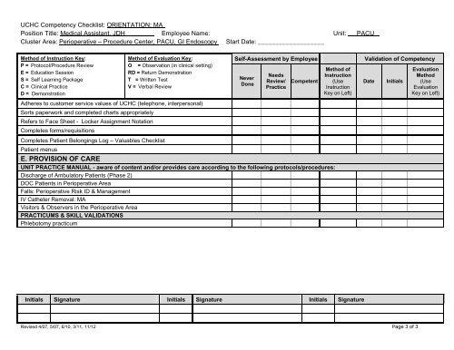 UCHC Competency Checklist
