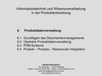 4 Produkt, Prozess, Ressourcen Integration - von Alfred Katzenbach