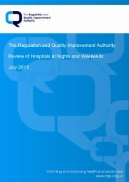 RQIA Review of Acute Hospitals at Night and Weekend, July 2013