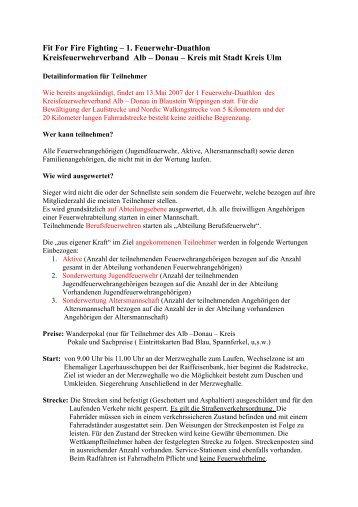 Fit For Fire Fighting - Kreisfeuerwehrverband Alb-Donau eV