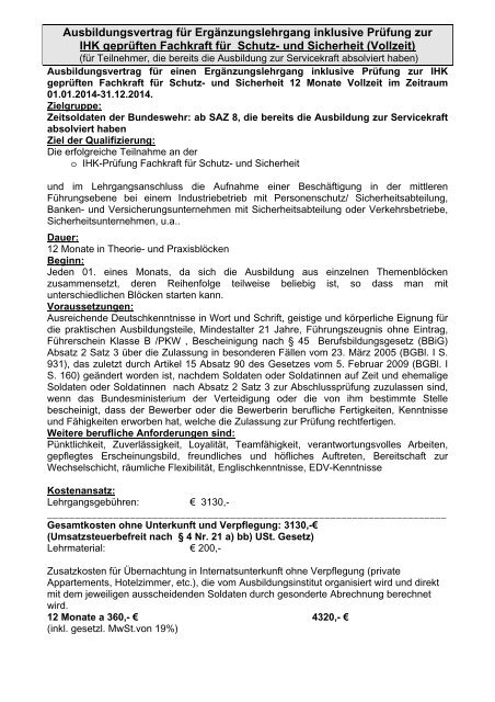 Download Mustervertrag Fachkraft fĆ¼r Schutz und Sicherheit - ISS ...