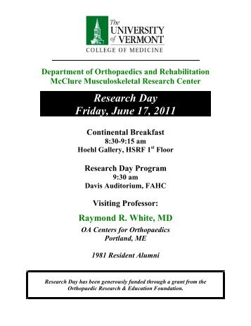 Research Day Friday, June 17, 2011 - College of Medicine ...
