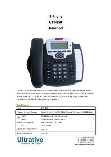 IP Phone UTT-850 Datasheet - Ultrative