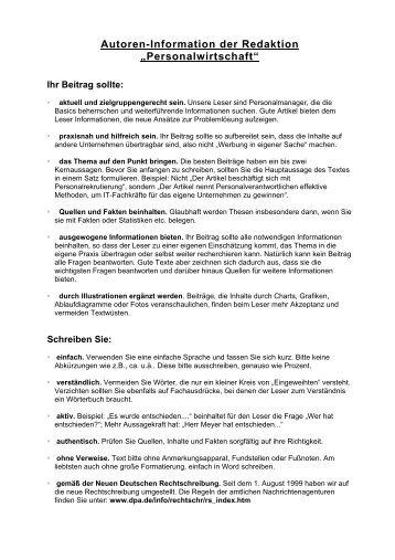 Autoreninfo downloaden - Personalwirtschaft
