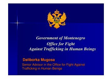 Government of Montenegro Office for Fight Against Trafficking in ...