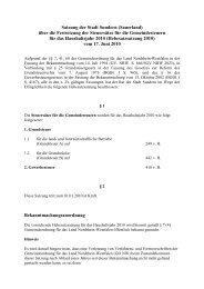 über die Festsetzung der Steuersätze für die ... - Sundern