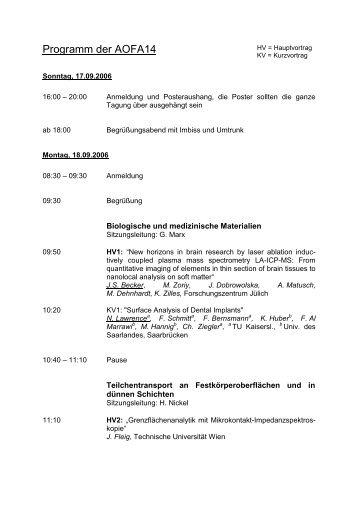 Programm - Fachbereich Physik der Universität Kaiserslautern