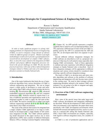 Integration Strategies for Computational Science & Engineering ...
