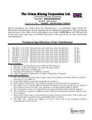 Technical Specification of the Transformer - Orissa Mining Corporation