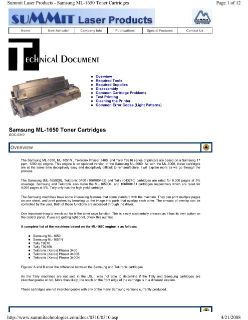 Samsung ML-1650 Toner Cartridges - Uninet Imaging