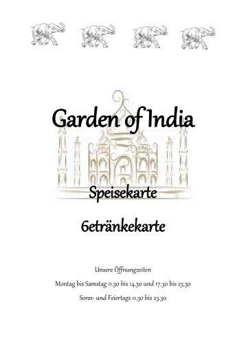 Vollständige Speisekarte als PDF Dokument - Garden Of India