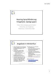 Weiterbildung Spielgruppen - Schule Winterthur