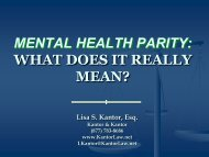 mental health parity: what does it really mean? - Kantor & Kantor
