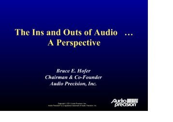 The Ins and Outs of Audio