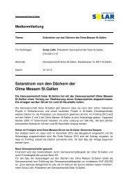 Solarstrom von den Dächern der Olma Messen St.Gallen