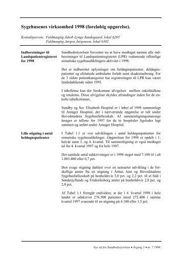 Sygehusenes virksomhed 1998 - Sundhedsstyrelsen