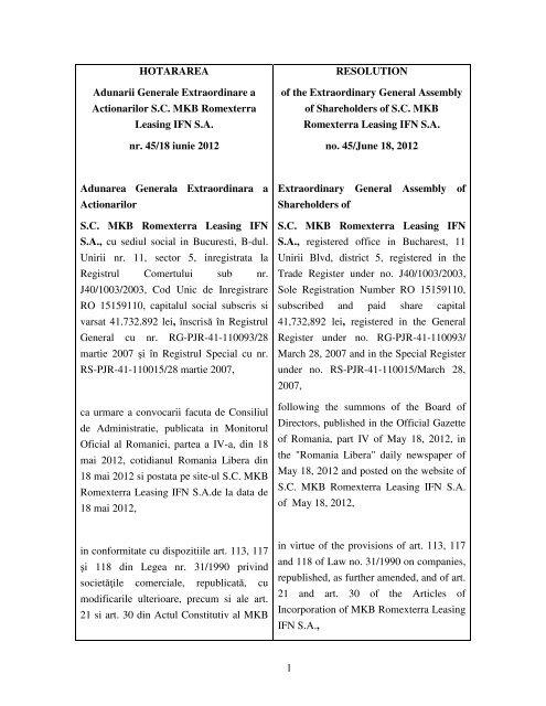 1 HOTARAREA Adunarii Generale Extraordinare a Actionarilor