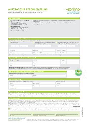 Auftrag zur Stromlieferung - Eprimo