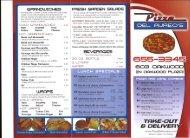 Pizza Del Aureos Menu