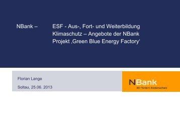 und Weiterbildung Klimaschutz – Angebote der NBank Projekt