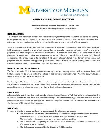 office of field instruction - University of Michigan School of Social Work