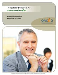 Competency framework for agency executive officer - oaciq