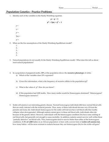 Population Genetics Worksheet | ABITLIKETHIS