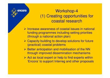 Workshop-4 (1) Creating opportunities for coastal research