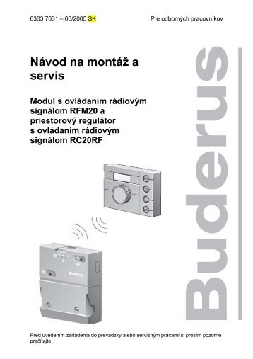Návod na montáž a servis Modul s ovládaním rádiovým ... - Buderus