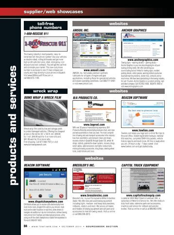products and services - Tow Times Magazine Online