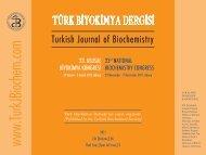 23. Ulusal Biyokimya Kongresi Özel Sayısı - Türk Biyokimya Dergisi