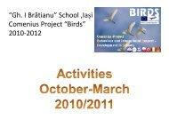 """""""Gh. I Brătianu"""" School ,Iaşi Comenius Project """"Birds"""" 2010-2012"""