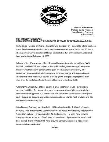 kona brewing company celebrates 10 years of spreading ale-oha