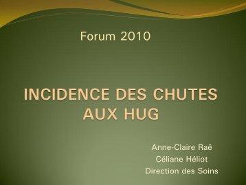 Résultats d'incidence des chutes 2009 - HUG