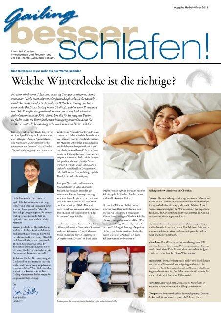 """""""besser Schlafen"""" Winterdecken, Boxspring - Bettenhaus Gailing"""