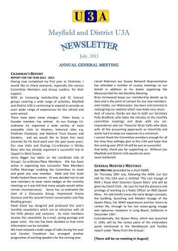 July 2013 Newsletter - u3asitec.org.uk