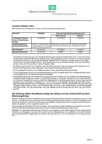Termine Oktober 2013 Bei Zahlung mittels Kreditkarte erfolgt der ...