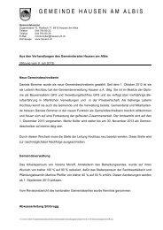 9. Juli 2013 - Gemeinde Hausen am Albis