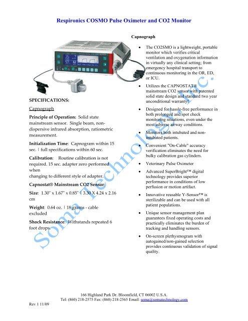 Respironics COSMO Pulse Oximeter and CO2 Monitor - Soma