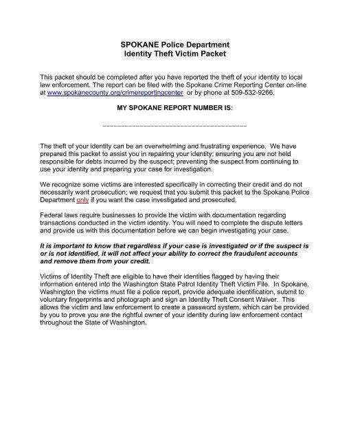 Id Theft Victim Information Spokane Police Department