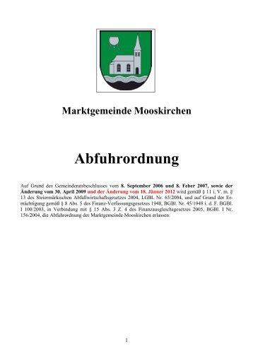 Abfuhrordnung - Marktgemeinde Mooskirchen