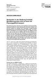 Mediencommuniqué vom 29. Januar 2014 - Thun