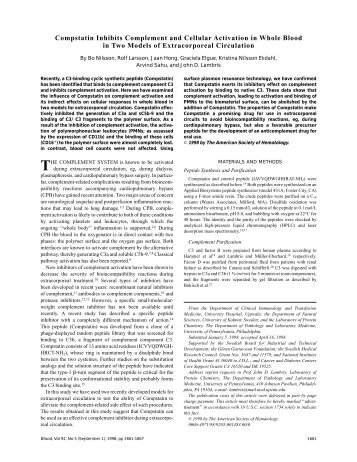 Compstatin Inhibits Complement and Cellular ... - John D. Lambris