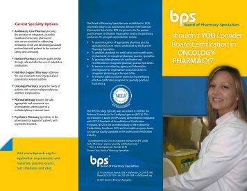 BPS OncologyP harmacy Brochure - Board of Pharmaceutical ...